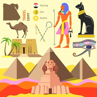 Vector set of egypt symbols.