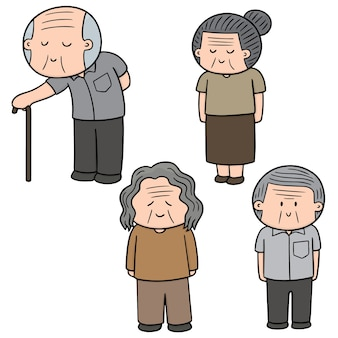 Vector set of elder people