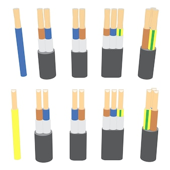 Vector set of electric cable wires
