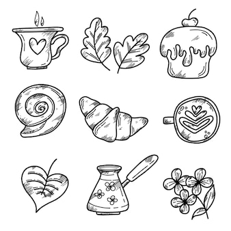 Vector set of elements with a croissant a bun a cup of coffee a tur a cupcake in a graphic style