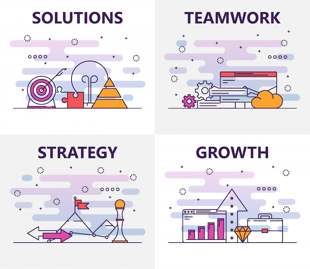Vector set of elements with solutions, teamwork, strategy, growth concept