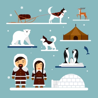 Vector set of eskimo characters with igloo house, dog, white bear and penguins.