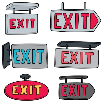 Vector set of exit sign