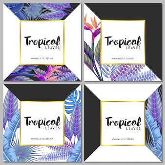 Vector set exotic tropical leaves invitation card