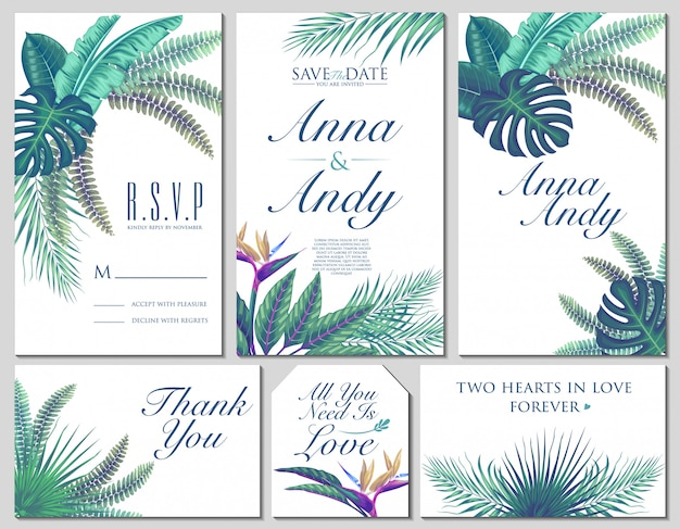 Vector set exotic tropical wedding invitation