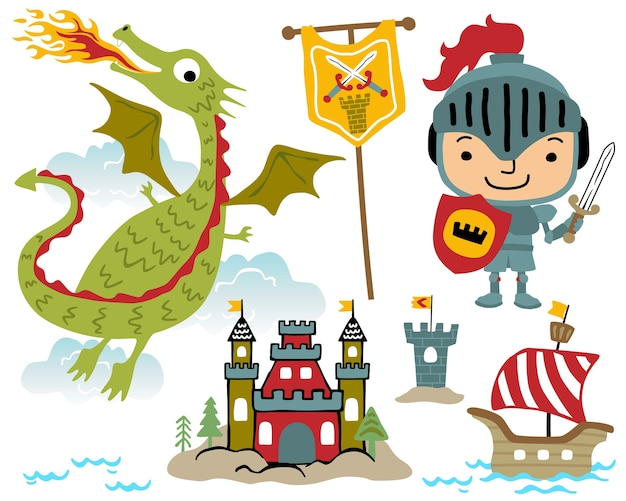 Vector set of fairy tale cartoon illustration