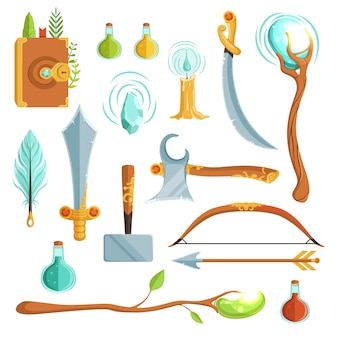 Vector set of fantasy magic weapons