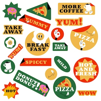 Vector set of fast food stickers. colorful patch badges for junk food cafe.