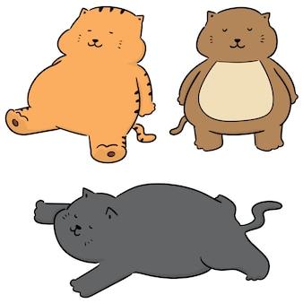 Vector set of fat cat
