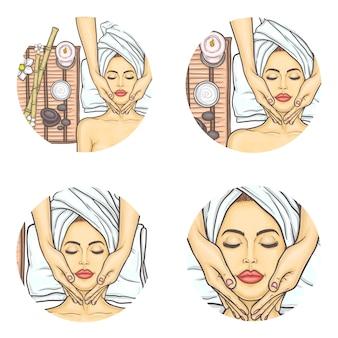 Vector set of female avatars in pop art style