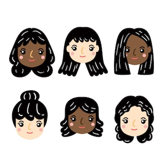 Vector set of female face.
