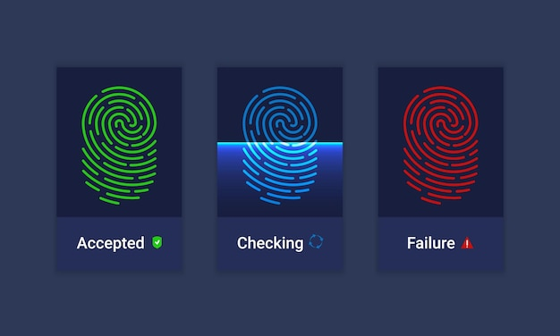 Vector set of fingerprint identification authorization system icons. sci-fi technologies of the future. biometric authorization and business security concept.