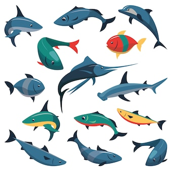 Vector set of fish isolated. flat style design elements.