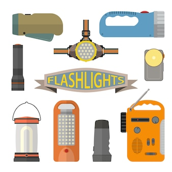 Vector set of flashlights in flat style. headlight, hand lamp, torch.