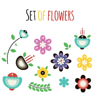 Vector set of flat abstract flowers