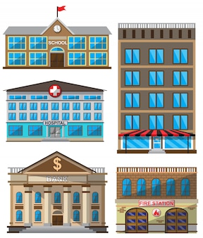 Vector set of flat buildings decorative icons