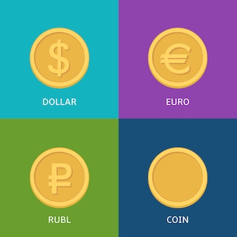 Vector set of flat coins on colorfull banner