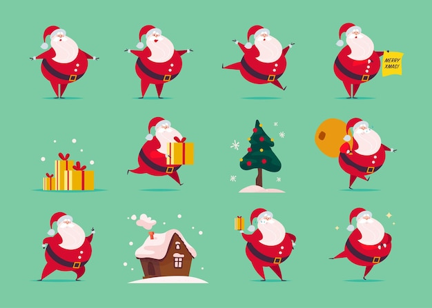 Vector set of flat funny santa claus character isolated on green background - stand, carry presents bag, hold gift box, jump, walk, smile. fir tree, gingerbread house. card, banner, web, animation etc