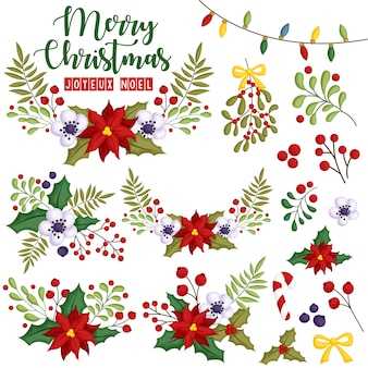 A vector set of flower assembled in beautiful christmas wreath