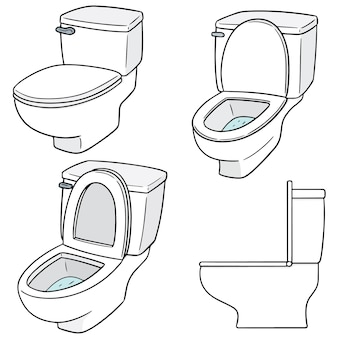 Vector set of flush toilet