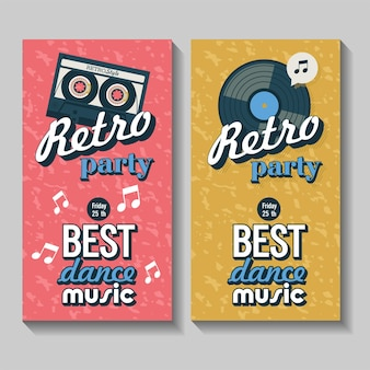 Vector set of flyers, posters. retro party. the best dance music.