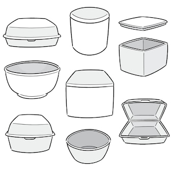 Vector set of foam container