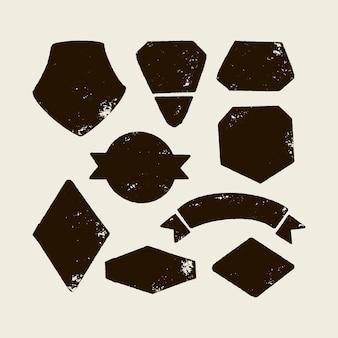 로고 생성을 위한 벡터 세트입니다. 손으로 그리는 아이콘 모양, 벡터 모양, 기호 및 요소. 나만의 라벨, 황야 복고풍 패치, 빈티지 배지, 우표, 티셔츠 프린트를 만드십시오.