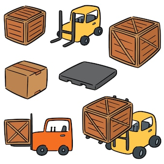 Vector set of forklift truck