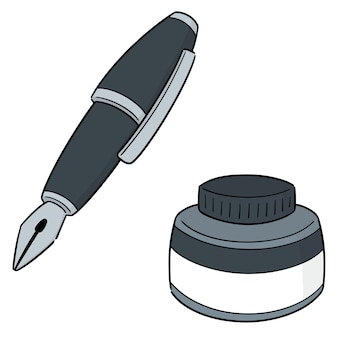 Vector set of fountain pen and ink bottle