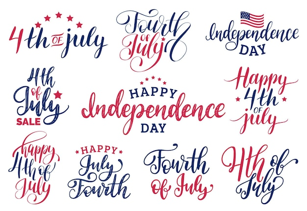 Vector set fourth of july hand lettering for greeting cards, banners etc. happy independence day