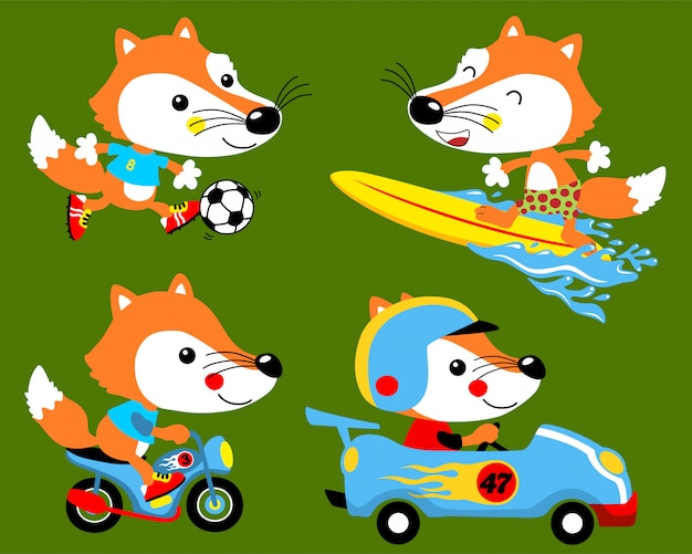 Vector set of fox cartoon activities