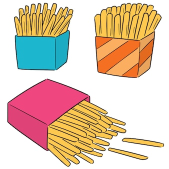 Vector set of french fries