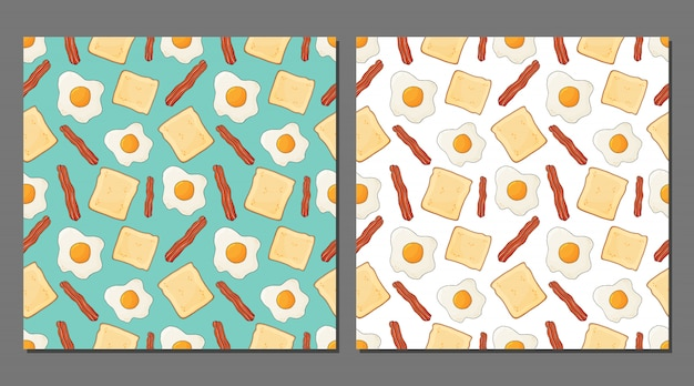 Vector set of fried eggs seamless patterns for healthy food packaging