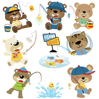 Vector set of funny animals cartoon fishing