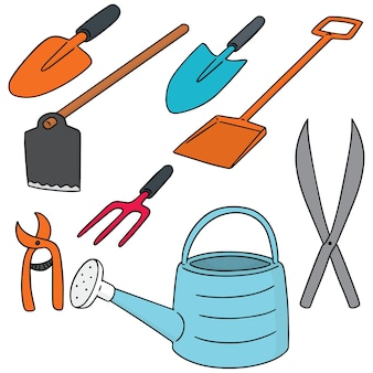 Vector set of gardening tool