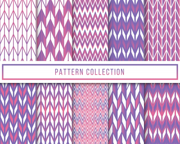 Vector set of geometric chevron zigzag seamless pattern