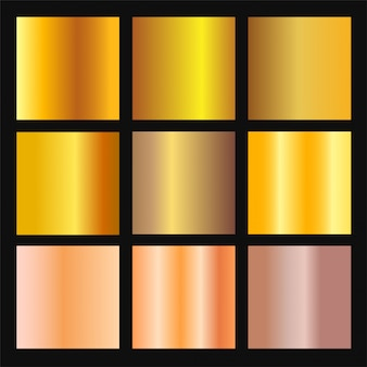 Vector set of gold and bronze gradient background. golden and metalic gradient collection for border, frame, ribbon, label design. color swatch. gold foil texture gradation.