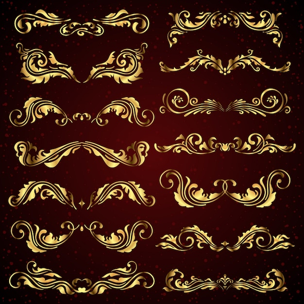 Vector set of gold calligraphic elements