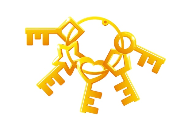 Vector set of golden keys in a bunch. collection of keys of different shapes for the lock.