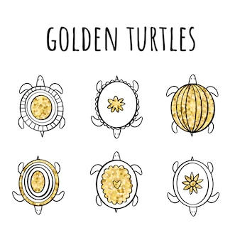 Vector set of golden turtles in the style of doodle