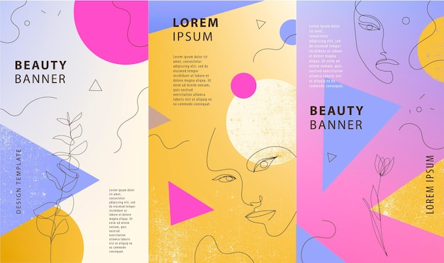 Vector set of gradient covers for social media stories cards flyer poster mobile app banners
