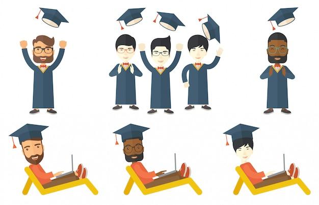 Vector set of graduate student characters.
