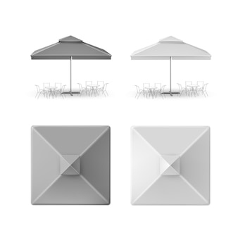 Vector set of gray blank patio outdoor market beach cafe bar pub restaurant square