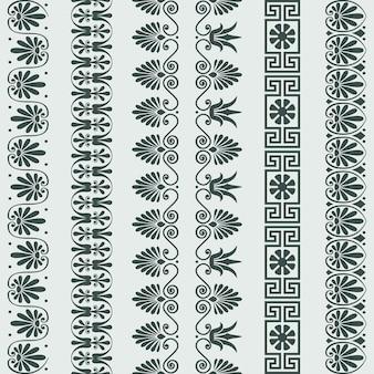 Vector set greek ornament meander border