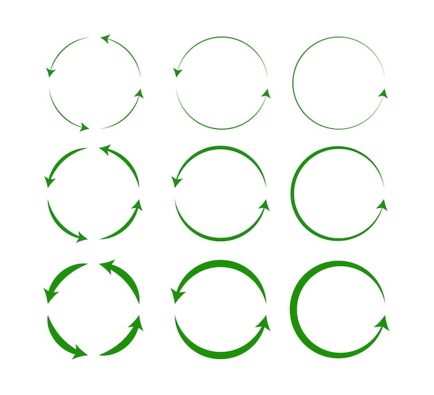 Vector set of green circle arrows isolated on white background rotate arrow and spinning loading