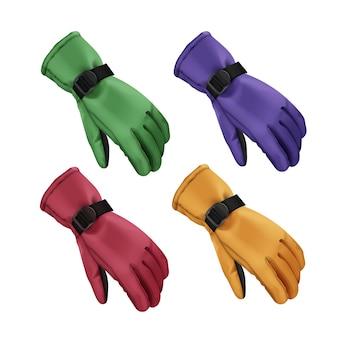 Insieme di vettore dei guanti invernali sportivi verdi, rossi, blu, gialli isolati su priorità bassa bianca
