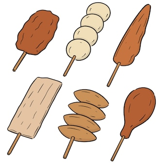 Vector set of grill food