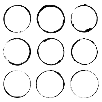 Vector set of grunge circle brush vector illustration concept image