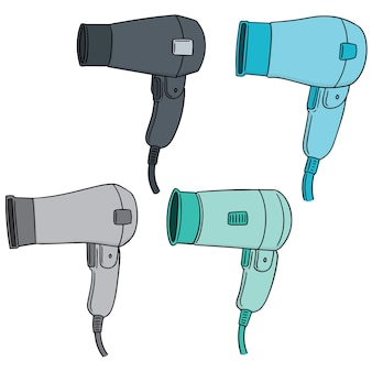 Vector set of hair dryer