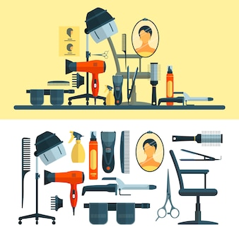 Vector set of hairdresser objects and tools. hair salon equipment, hair hood dryer, hairdryer, comb, scissors.